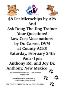 Microchips, Low Cost Vaccination and Q&A with Dog Trainer @ Coutny ACES | Anthony | New Mexico | United States