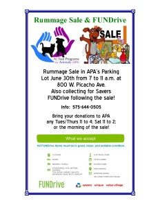 APA-Rummage Sale and FUNDrive_30 june 2018
